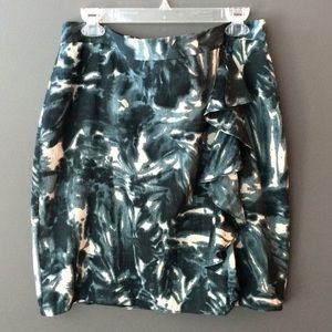 Ann Taylor emerald side ruffle silk blend skirt